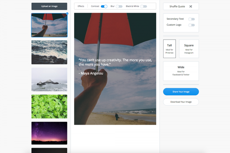 Pablo by Buffer – free tool for creating engaging images for social media.