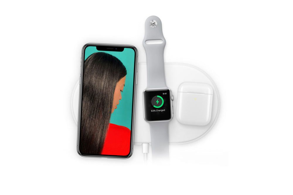 iPhone X, Apple Watch and AirPods on AirPower Mat