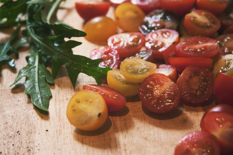 Ruccola Leaves And Cherry Tomatoes