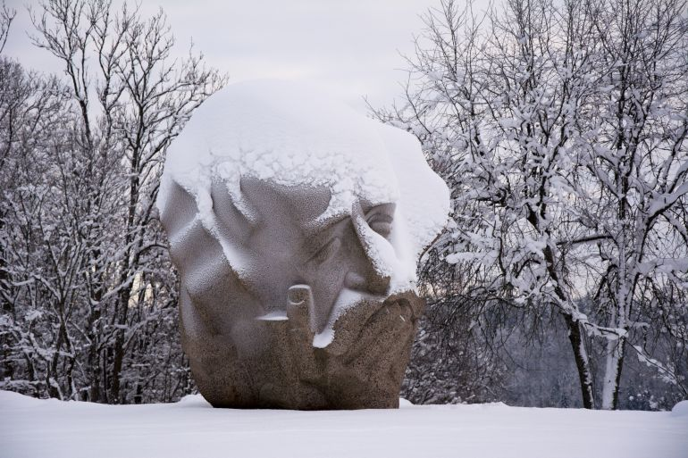 Sculpture covered with snow