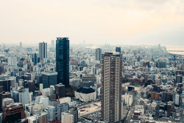 Aerial view of Osaka city