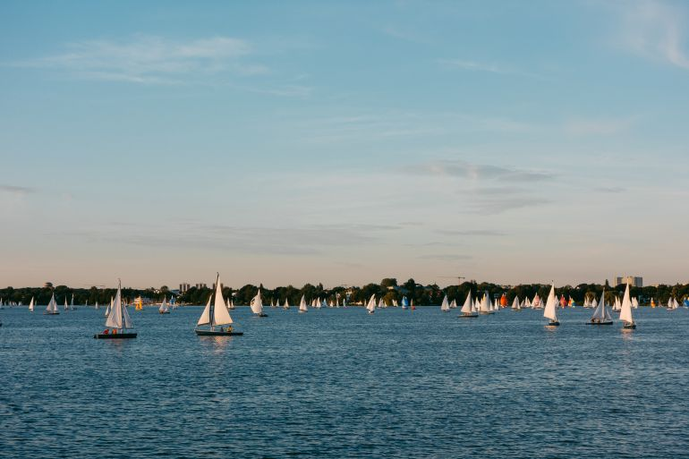 Sailing boats on Alster, Hamburg