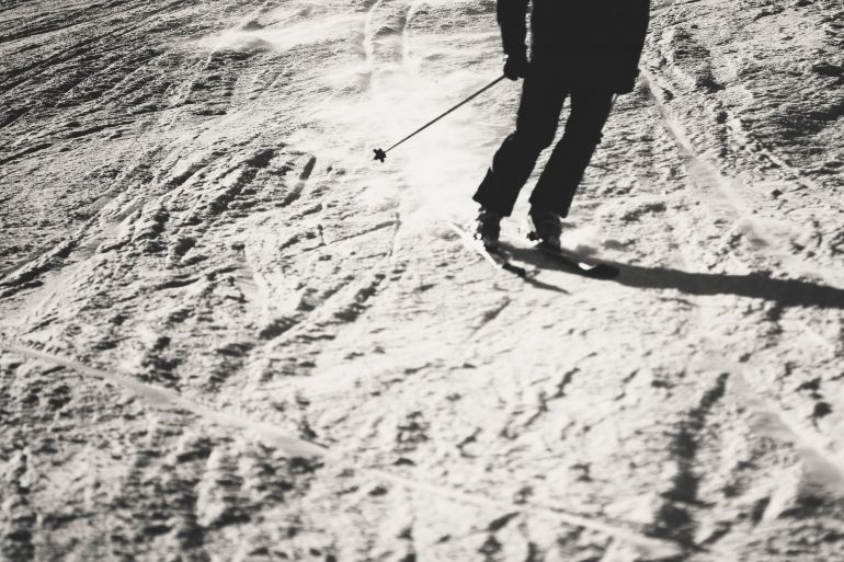 Skiing in black and white
