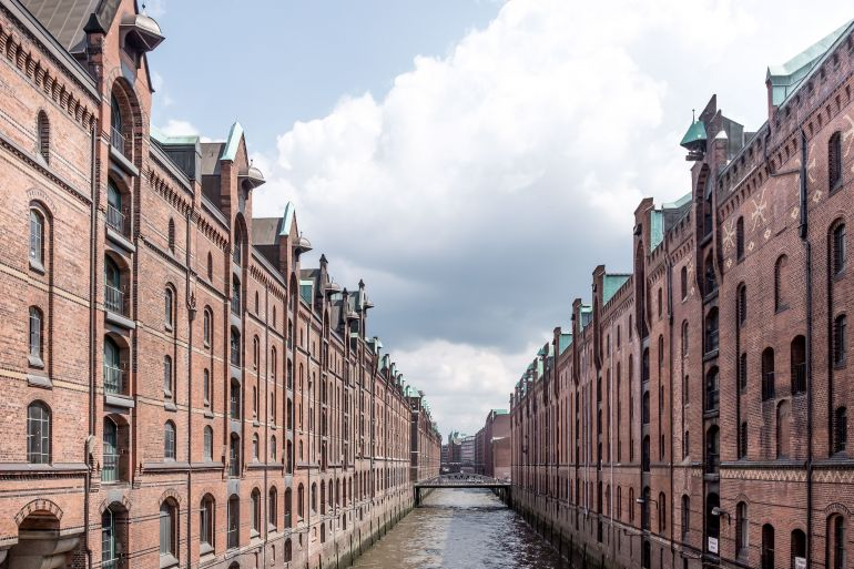 Speicherstadt district in Hamburg