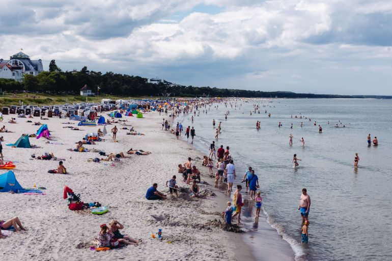 Crowded beach on Rugen island, Germany