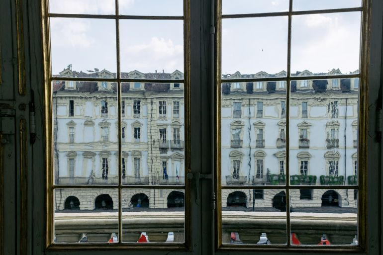 Vintage window in Turin palace