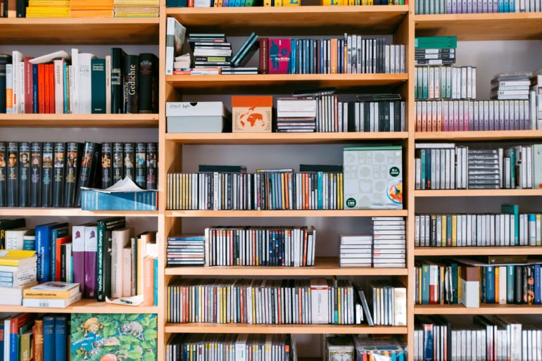Bookshelf with books and cds