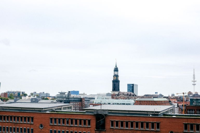 view of the city of Hamburg with St. Michaelis