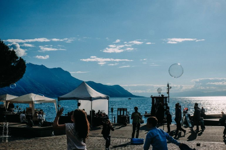 Kids play on the waterfront in Montreux