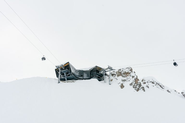 Ski lift station in Alps