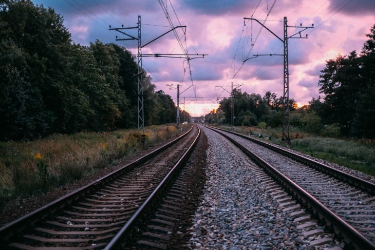 the railroad tracks and the sunset sky