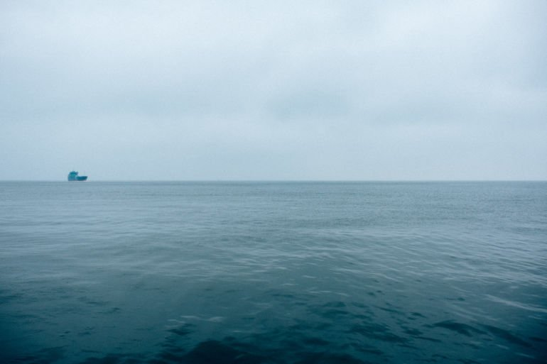 lonely ship at sea