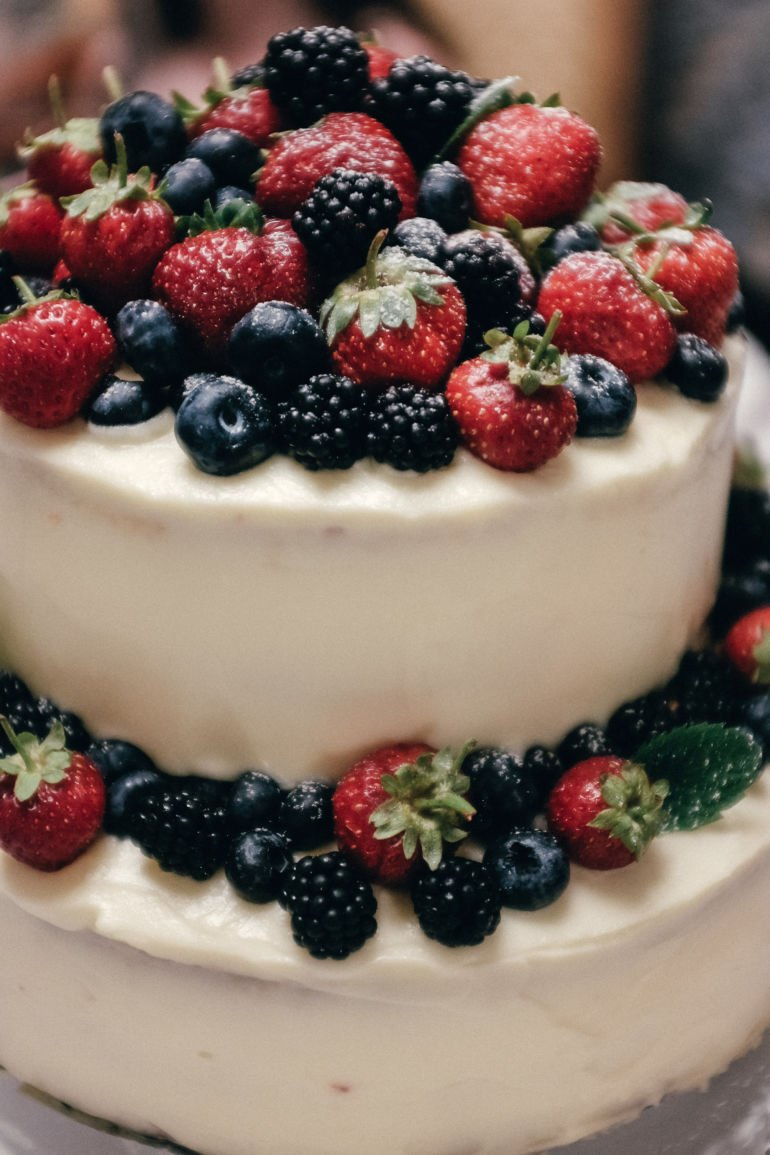 Wedding cake with summer berries