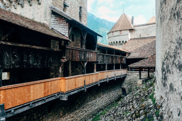 Behind the fortress wall of a medieval castle