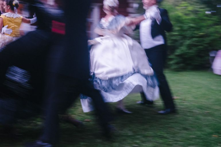 Dancing in old-fashioned outfits