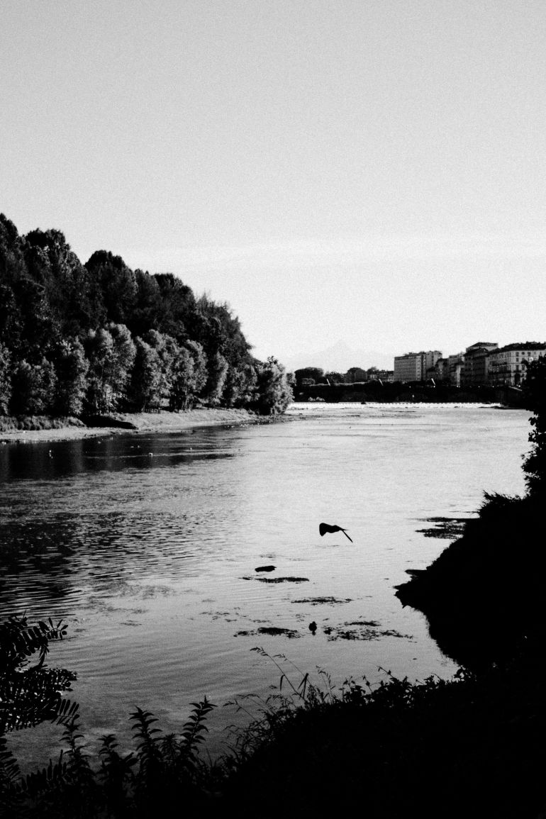 Black and white image of a lake. Photography