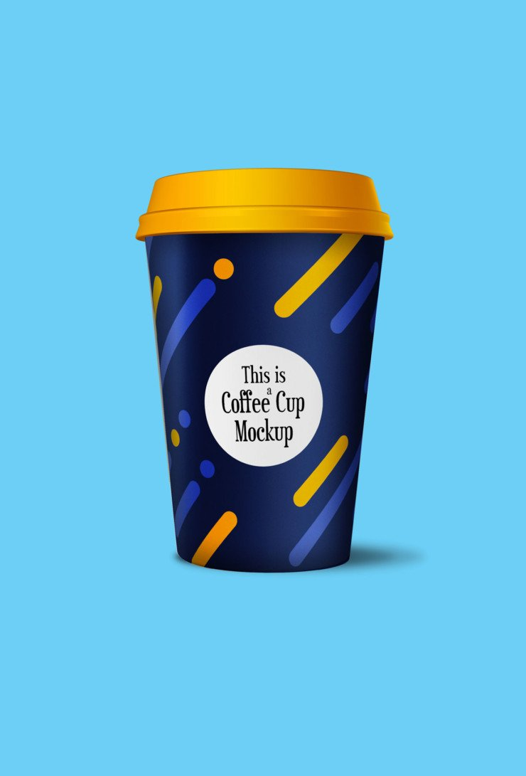 A free mockup of a paper coffee cup with full customization control.