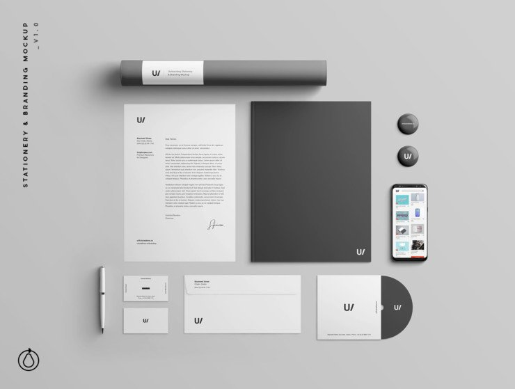 A superb modern stationery and identity branding PSD mockup.