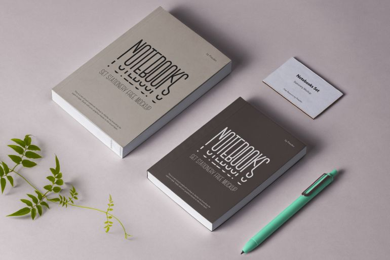 Free Notebooks Mockups in PSD