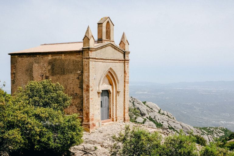 Small chapel and mountain near the monastery of Montserrat