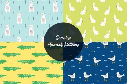 Free Vector Art: Seamless Animals Patterns