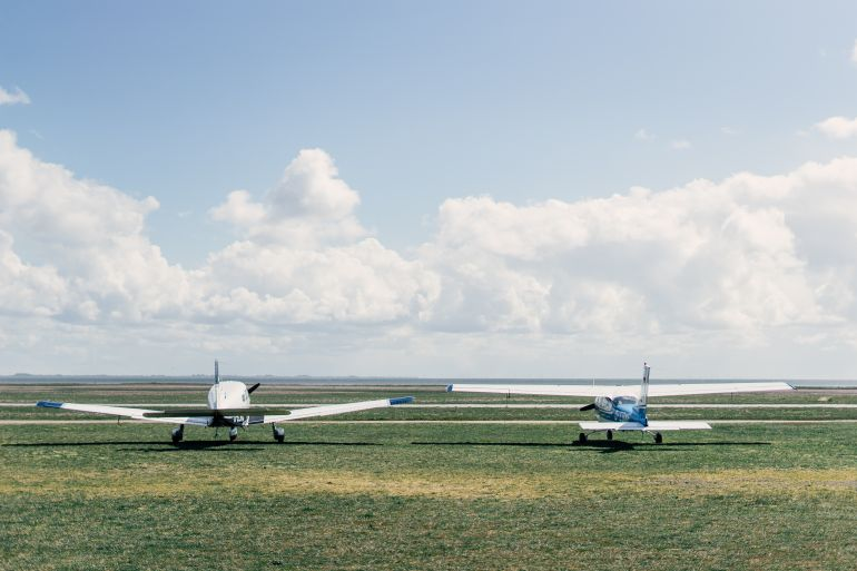 Light aircrafts on the airfield
