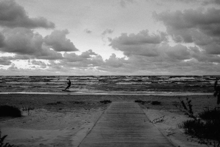 kite surfer on the stormy Baltic Sea