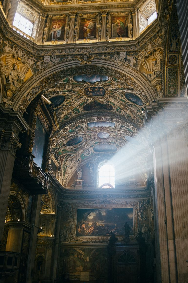 The rays of light in the church in Bergamo, Italy