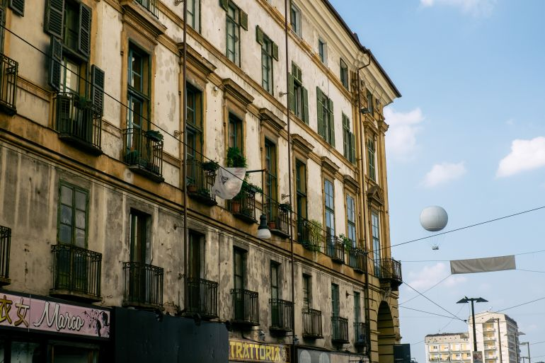 Street and hot air balloon in Turin, Italy