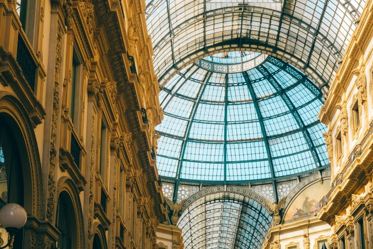 Dome of Galleria Vittorio Emanuele II in Milan, Italy