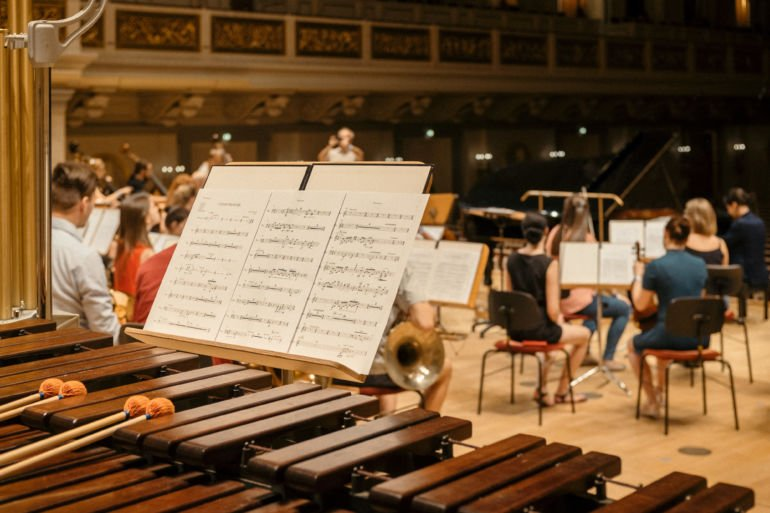 Marimba with notes and orchestra