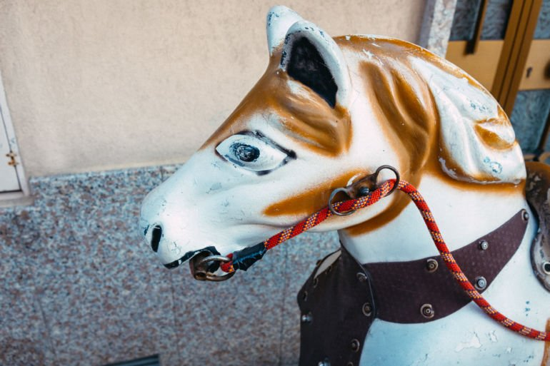 Head of a rocking horse ride