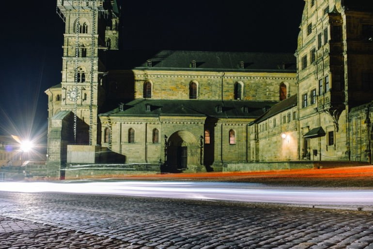 Dom Square at night in Bamberg, Germany