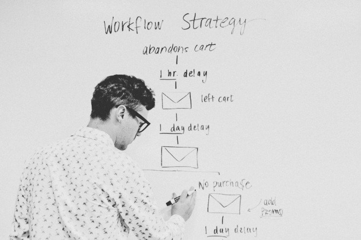 man draws a plan of marketing email strategy