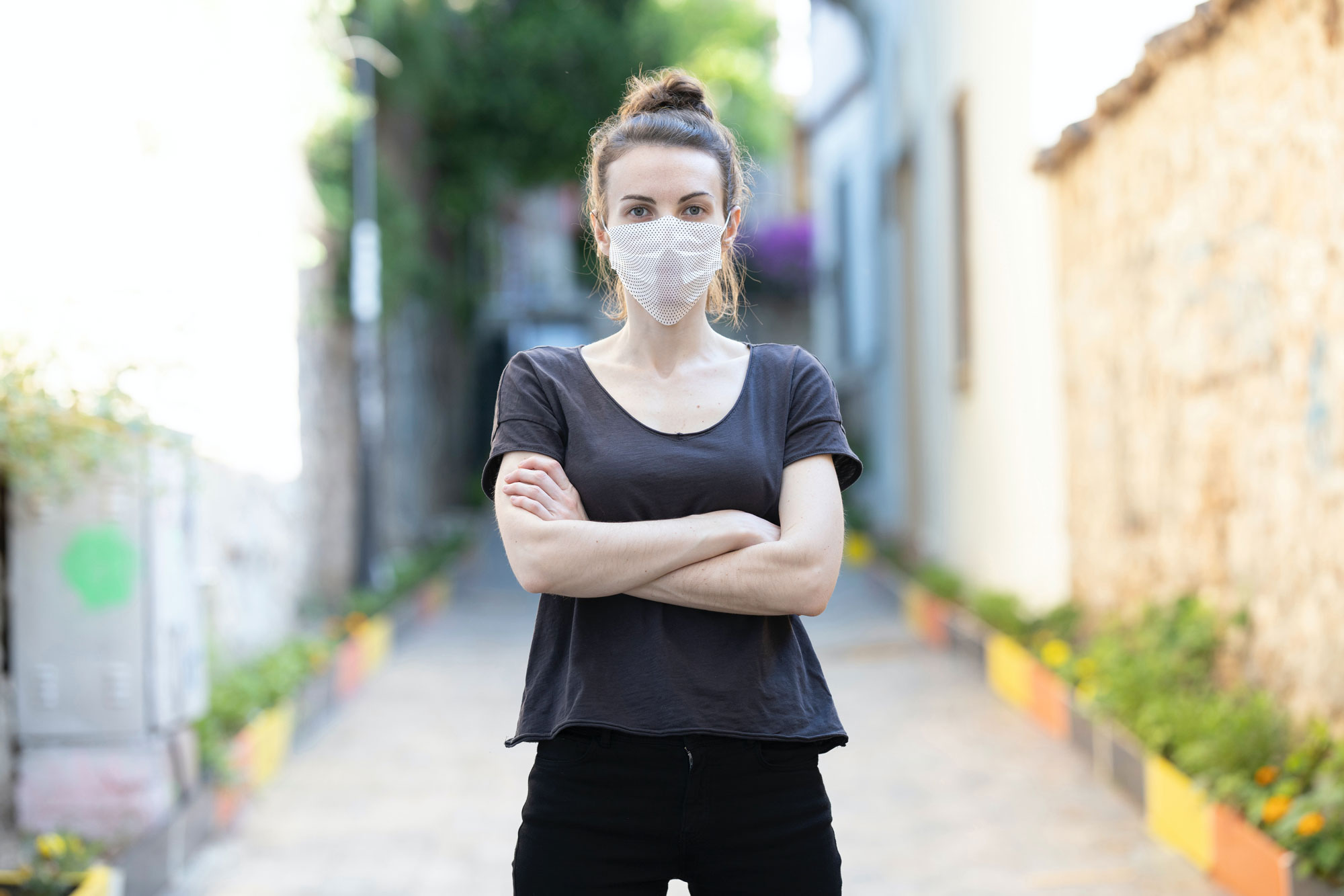 Young Woman Wearing a Face Mask Mockup